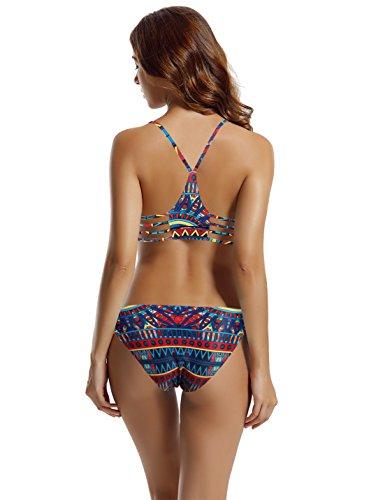 43c6cfadfa563 zeraca Women's Strap Side Bottom Halter Racerback Bikini Bathing Suits  (M10, Tribal Aztec)