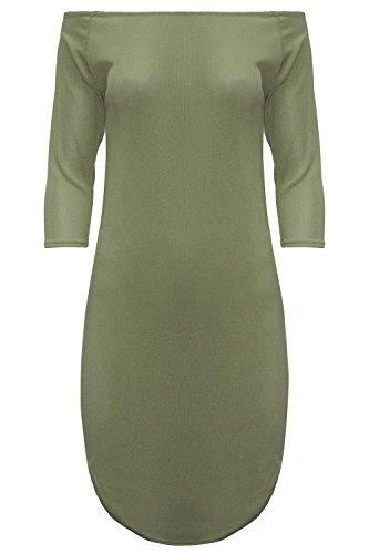 Womens Ladies 3/4 Sleeves Off The Shoulders Bardot Curved Hem Mini Bodycon Dress Khaki ()