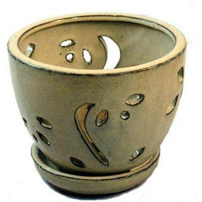 """AchmadAnam - Beige Ceramic Orchid Pot/Saucer 5 3/4"""" x 4 3/8"""" : Garden & Outdoor"""
