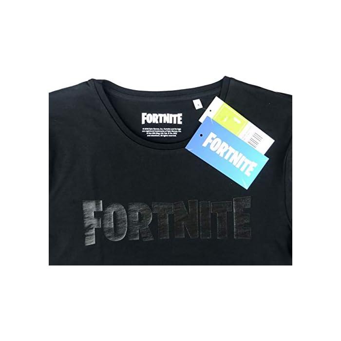 41DJyiXPdOL Fortnite Logo Gris Oscuro camiseta Camiseta de 100% algodón con etiqueta oficial Fortnite Fortnite talla L, color negro, Logo gris oscuro