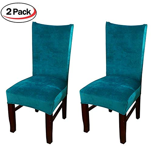 Smiry Velvet Stretch Dining Room Chair Covers Soft Removable Dining Chair Slipcovers Set of 2, Peacock Blue by Smiry