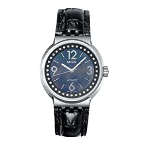 MIDO M73404384 - Reloj analógico automático para mujer, correa de cuero color negro