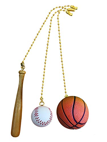 Baseball Bat, Baseball, Basketball Sports fan pull with beaded chain - 3 Pack - FA1008
