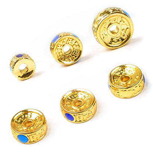 8mm Beads Cloisonne - Calvas 6 8 10mm 2pcs/lot Metal Hollow Alloy Beads Copper Cloisonne Beading Beads Spacers Pure Brass DIY Spacer Bead for Jewelry Making - (Item Diameter: 8MM)