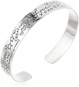 """Sterling Silver """"Love"""" Themed Graffiti Cuff Bracelet by Amazon Curated Collection"""