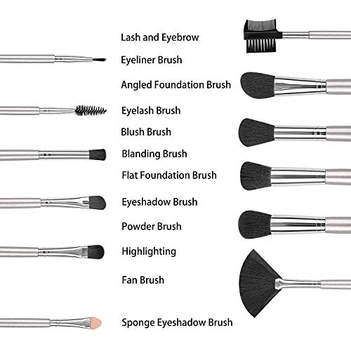 SOLVE 12pcs Makeup Brushes Premium Synthetic Silver Make up Brush Set Foundation Concealer Eye Face Brushes with Box