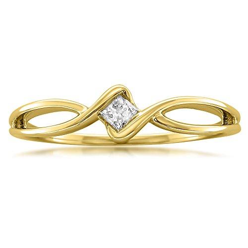 (La4ve Diamonds 10k Yellow Gold Princess-cut Diamond Promise Ring (1/10 cttw, I-J, I1-I2), Size 6.5)