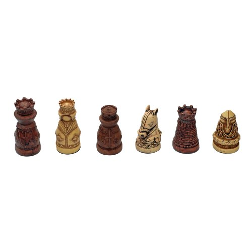 WE Games Medieval Chessmen - Brown & Ivory with 2.5 in. King