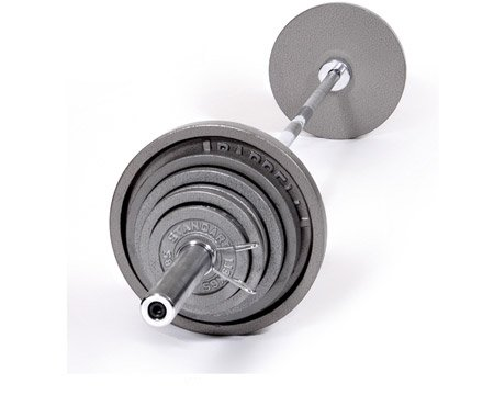 CAP Barbell OSG 390 pound Olympic Barbell Set - Olympic Bar and Cast Iron Olympic Plates - Old School Gray ''Standard'' Weight Lifting Set by Ironcompany.com