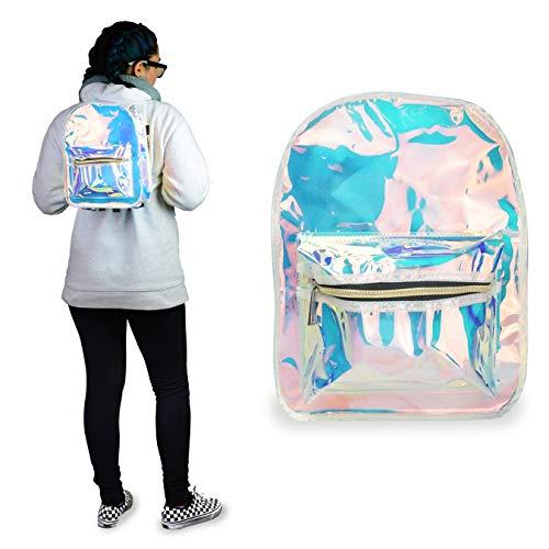 FACE1ST Transparent Multicolored Holographic Shoulder Backpack, Festive School