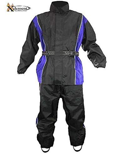 Xelement RN4768 Men's Black and Blue 2-Piece Motorcycle Rain Suit with Boot Strap - Large