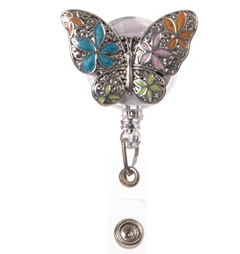 Multicolor Enameled Butterfly Retractable ID Badge Reel with Clip for Teachers & School ()