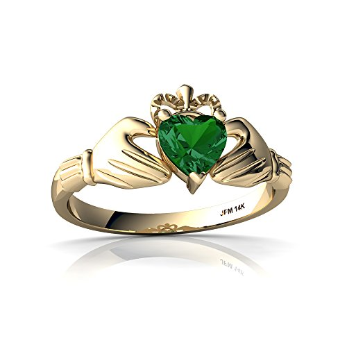 14kt Yellow Gold Lab Emerald 5mm Heart Claddagh Ring - Size 6