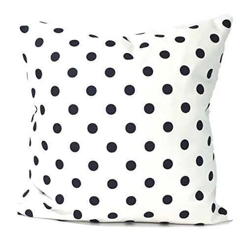 Navy Blue Polka Dots and White Pillow Cover. large bed Throw Pillow. Toss Pillows. square Cushion. Polka Dots. Bed dorm. Pillow Cover. Euro Pillow. Pi…