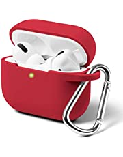 Silicone Case for AirPods Pro, Protective Shockproof Wireless Charging Earbuds Case Cover Skin with Keychain kit Set Compatible for Apple AirPods Pro 2019 - True Red