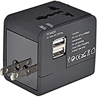 Mopslik Worldwide Universal Travel Adapter with Dual USB Ports-Black Colour