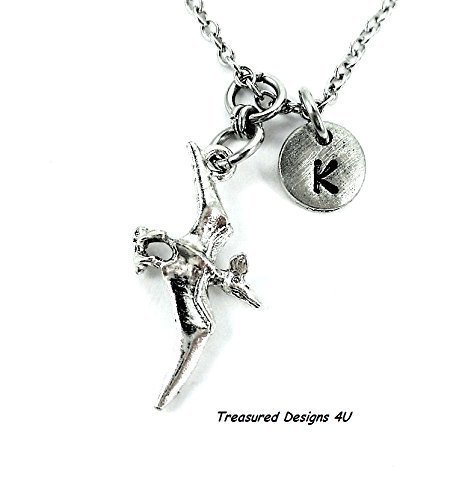 (Dinosaur 3D Charm Necklace Pterodactyl Fly Bird Personalized Initial Girl's Women's Jewelry Add Birthstone Crystal or Your Name)