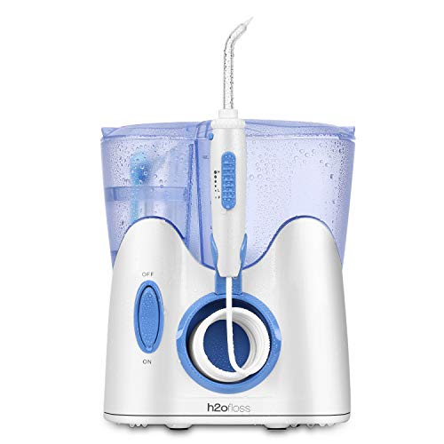 H2ofloss Dental Water Flosser for Teeth Cleaning With 12 Multifunctional Tips & 800ml Capacity, Professional Countertop Oral Irrigator Quiet Design(HF-9 whisper)