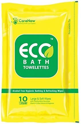 Nvey Eco Alcohol-free Hygienic and Antiseptic Large Bathing Wipes in a Ziplock Pack -Set of 40 Pieces at amazon