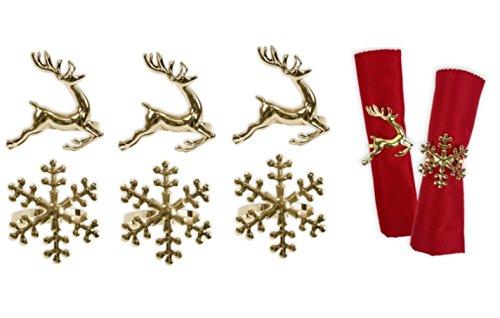 TOYLAND Anelli portatovaglioli Set di 6 portatovaglioli in oro Fiocco di neve Renna Stoviglie di Natale Decorazioni natalizie di Natale Portatovaglioli Toyland®