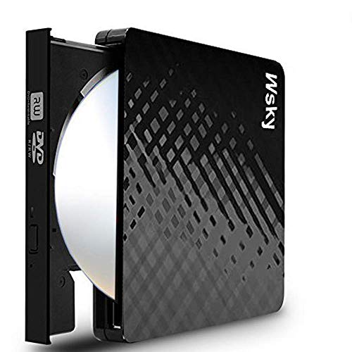 (Wsky USB 3.0 External CD DVD Drive, CD/DVD-RW Drive, CD-RW Rewriter Burner Super Drive for High Speed Data Transfer Laptop Notebook PC Desktop Support Windows/Vista/7/8, Mac)
