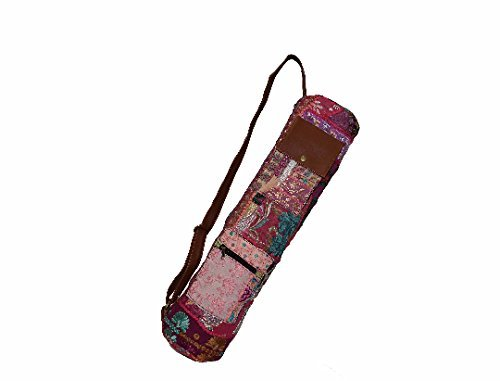 Yoga Bag- PURPLE Vintage Gypsy Hand-stitched Traditional Banjara Sling with Leather Strap