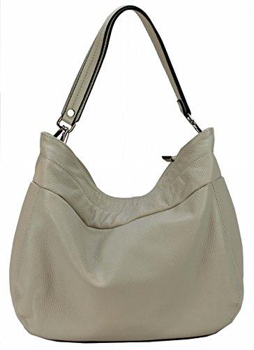 86418fe8f100d Bozana Bag Lena Creme Italy Designer Damen Handtasche Schultertasche  Ledertasche Tasche Wildleder Prägung Shopper Neu
