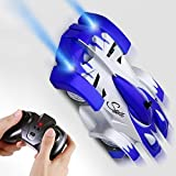 SGILE Remote Control Car Toy, Wall Climbing RC Car - Dual Mode 360° Rotating LED Head Stunt Car, Birthday Present Gift for Kids, Blue
