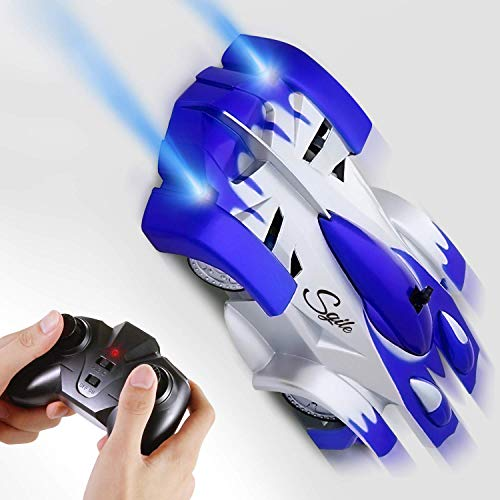 Climber Wall (SGILE Remote Control Car Toy, Rechargeable Car for Kids Boy Girl Birthday Present with Mini Control Dual Mode 360° Rotating Stunt Car LED Head Gravity-Defying, Blue)