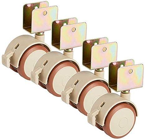 CLQya Ruedas 2 pulgadas Crib ruedas U Bracket silencioso de caucho doble rueda universal giratoria Muebles de madera ruedas con freno 160Kg para Suelo de madera placa de moqueta 4 paquetes,ranura de