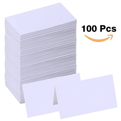 Supla 100 Pcs Table Name Place Cards Blank Place Cards White Table Tent Cards Table Name Tags Table Card Seating Cards -3.5