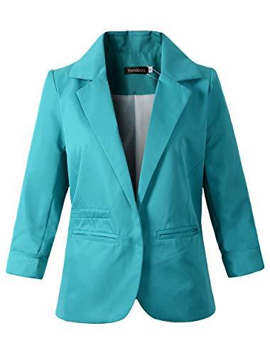 Women's Boyfriend Blazer Tailored Suit Coat Jacket (TG-503 Green, XL)