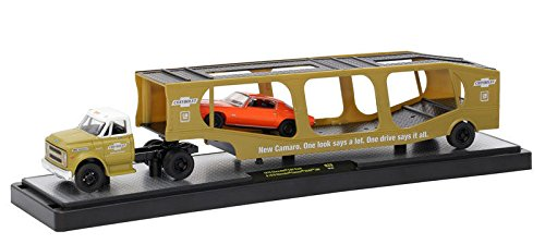 New 1:64 M2 MACHINES AUTO-HAULERS RELEASE 29 - 1970 CHEVY C60 TRUCK GLD W/ WH TOP - 1970 CHEVY CAMARO SS RS 396 - Gold, Orange Diecast Model Car By M2 Machines - C60 Car