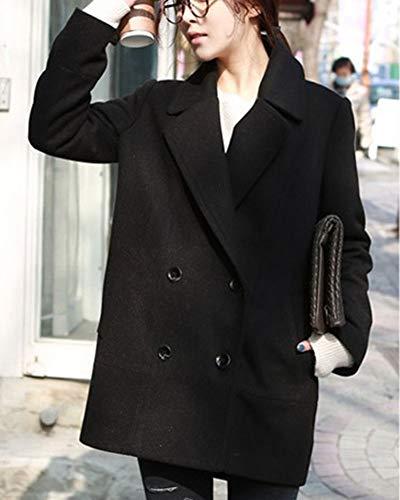 Donna Petto Parka Fit Colore Doppio Classico Cappotto Outwear Slim Casual Puro Blazer Nero Trench Elegante qgxF4qH