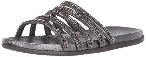Kenneth Cole REACTION Women's Slim Shimmer Flat Strappy Sandal Sandal, Pewter, 7.5 M US ()