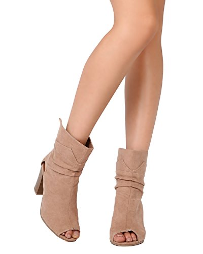 Qupid FE69 Women Faux Suede Peep Toe Cut Out Chunky Heel Bootie - Taupe