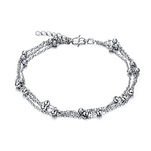 Mmiiss Triple Layer Cross Chain Anklets with Small Beads 925 Sterling Silver Fashion Anklets for Women - Heart Triple Anklet