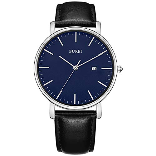 BUREI Men's Fashion Minimalist Wrist Watch Analog Deep Gray Date with Black Milanese Mesh/Leather Band (Blue-Black) - Leather Brass Wrist Watch