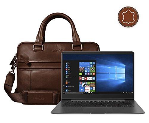 reboon Echt-Leder Laptop-Tasche in Braun Leder für ASUS UX3430UN GV065T 14   15 Zoll   Notebooktasche Umhängetasche   Damen/Herren - Unisex   Premium Qualität Braun Leder