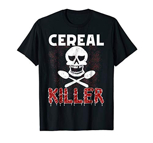 Cereal Killer T-Shirt Serial Skull Milk Spoon Funny Costume -