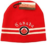 Canada Maple Leaf Red With THIN White Stripes & Embroidered WORD Toque Momento Hat ..