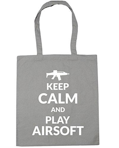 HippoWarehouse Keep calm and play Airsoft Tote Compras Bolsa de playa 42cm x38cm, 10litros gris claro