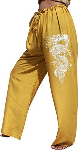 ahMuang Viscose Pull String Lounge Lizard Pants With Tattoo Dragon Print, Large, Gold Yellow (Gold Dragon Pants)