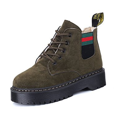 Ch & Tou Femmes-bottines-casual-confortable-low-pu (polyuréthane) -noir Vert Kaki, Us8 / Eu39 / Uk6 / Cn39
