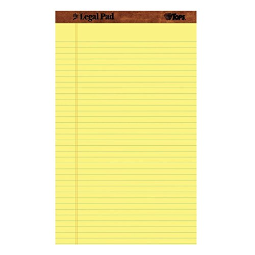 TOPS The Legal Pad Legal Pad, Perforated, Canary, 50 Sheets UfYAu per Pad, 8.5 x 14 Inch (2 Pack) by TOPS