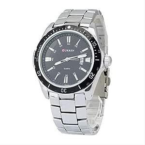 Curren Men's Analog Black Dial Stainless Steel Band Watch [M8110SB]