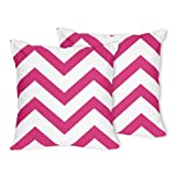 Sweet Jojo Designs 2-Piece Hot Pink and White Chevron Zig Zag Decorative Accent Throw Pillow