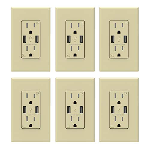 ELEGRP USB Charger Wall Outlet, Dual High Speed 3.6 Amp USB Ports, 15 Amp Duplex Tamper Resistant Receptacle NEMA 5-15R, Wall Plate Included, UL Liste (6 Pack, Ivory)
