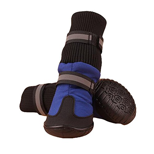 Julvie Pet Dog Waterproof Anti-Slip High Boots Paw Protector Dog Shoes for Medium to Large Dogs Labrador Husky Shoes 4 Pcs