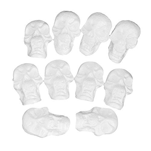 10 Pieces Flat Back Halloween Skull Styrofoam Foam